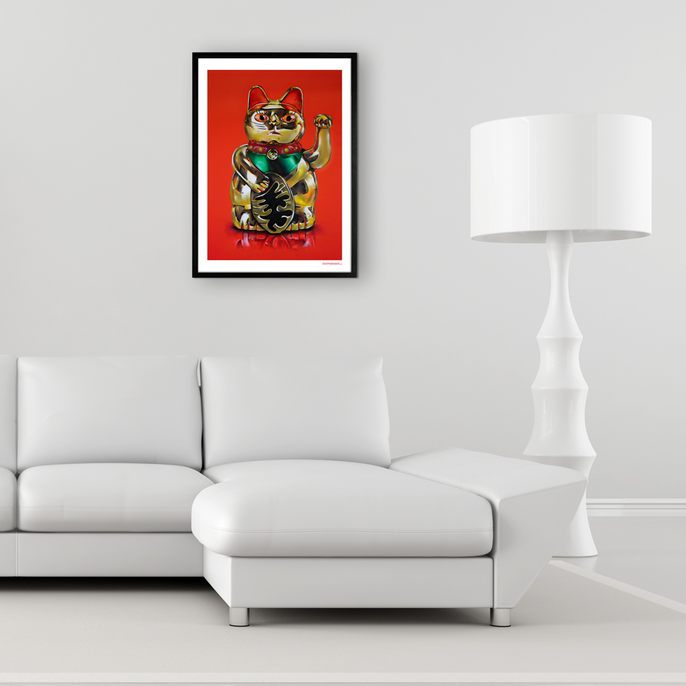 maneki neko lucky cat japan maneki neko print poster art graffiti streetart street art kunst painting