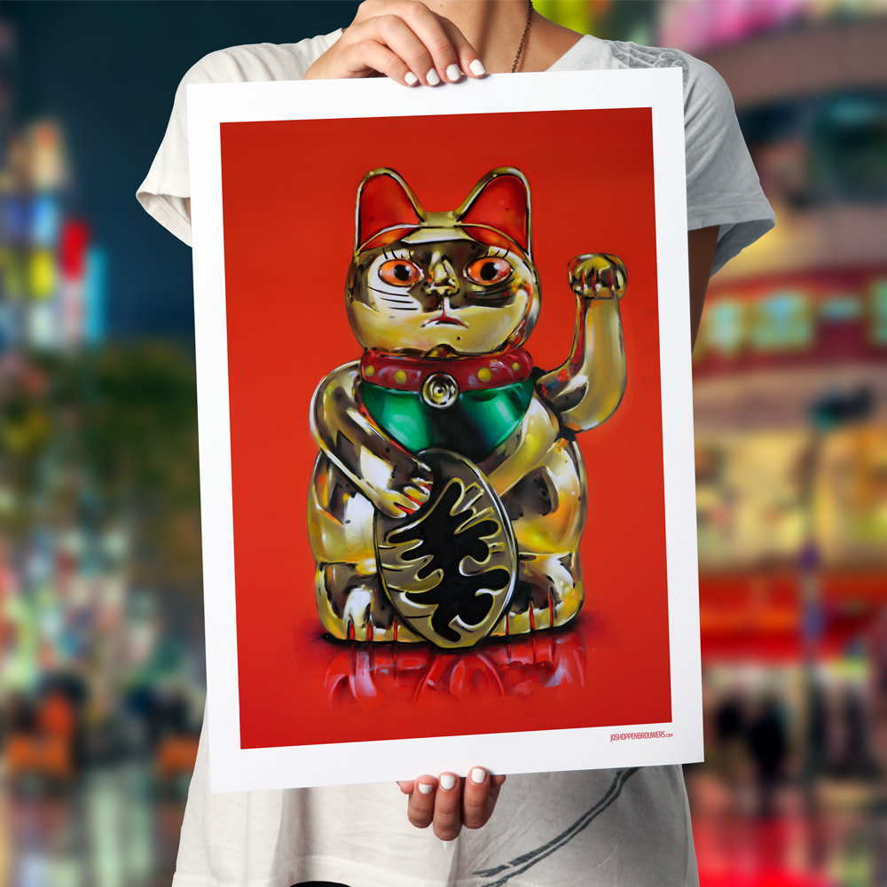 maneki neko lucky cat japan maneki neko print poster art graffiti streetart street art kunt