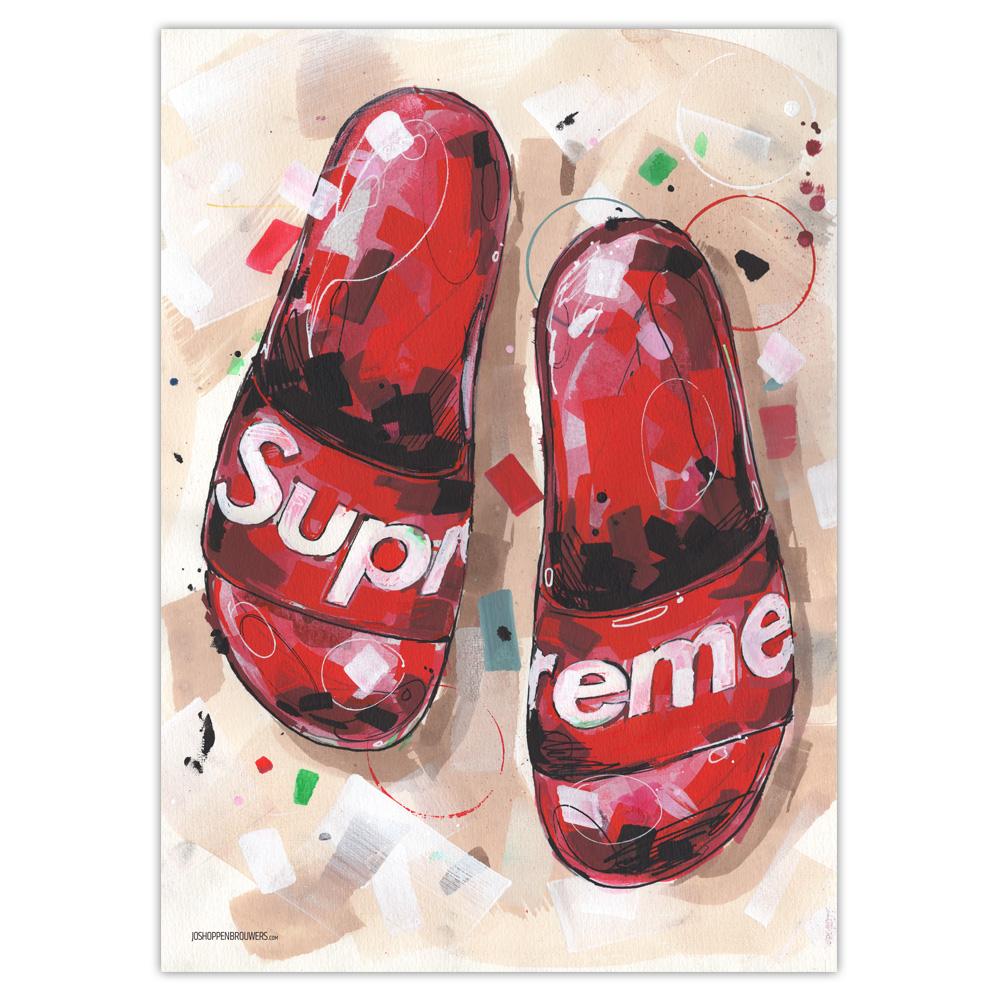 Supreme SupremeNY supremeNYC supremeflipflops flipflops flip flops supremeslippers supremeposter supremeprint supremeart supremepainting flipflopsupreme