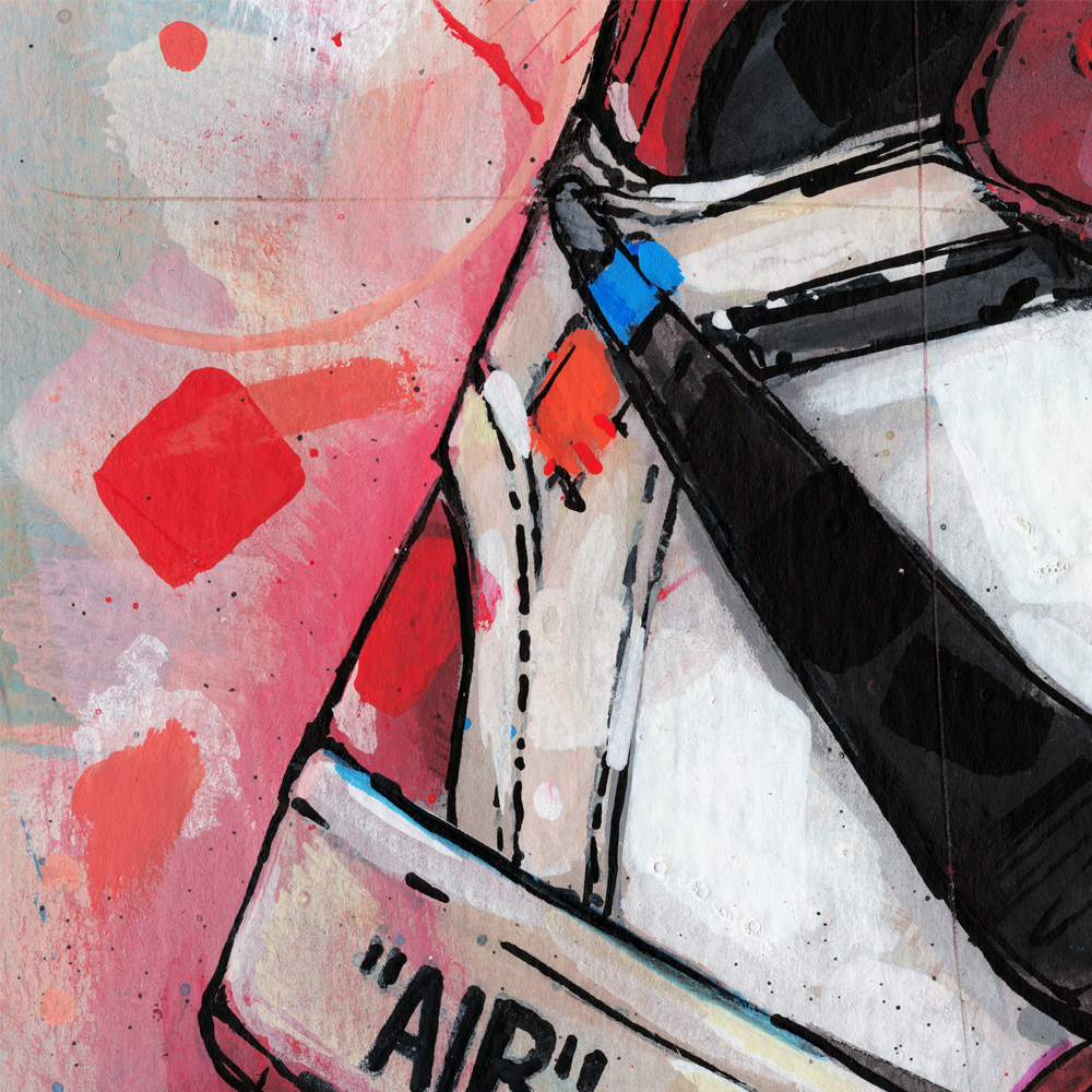 This is a graphic of Astounding Off White Air Jordan 1 Chicago Drawing