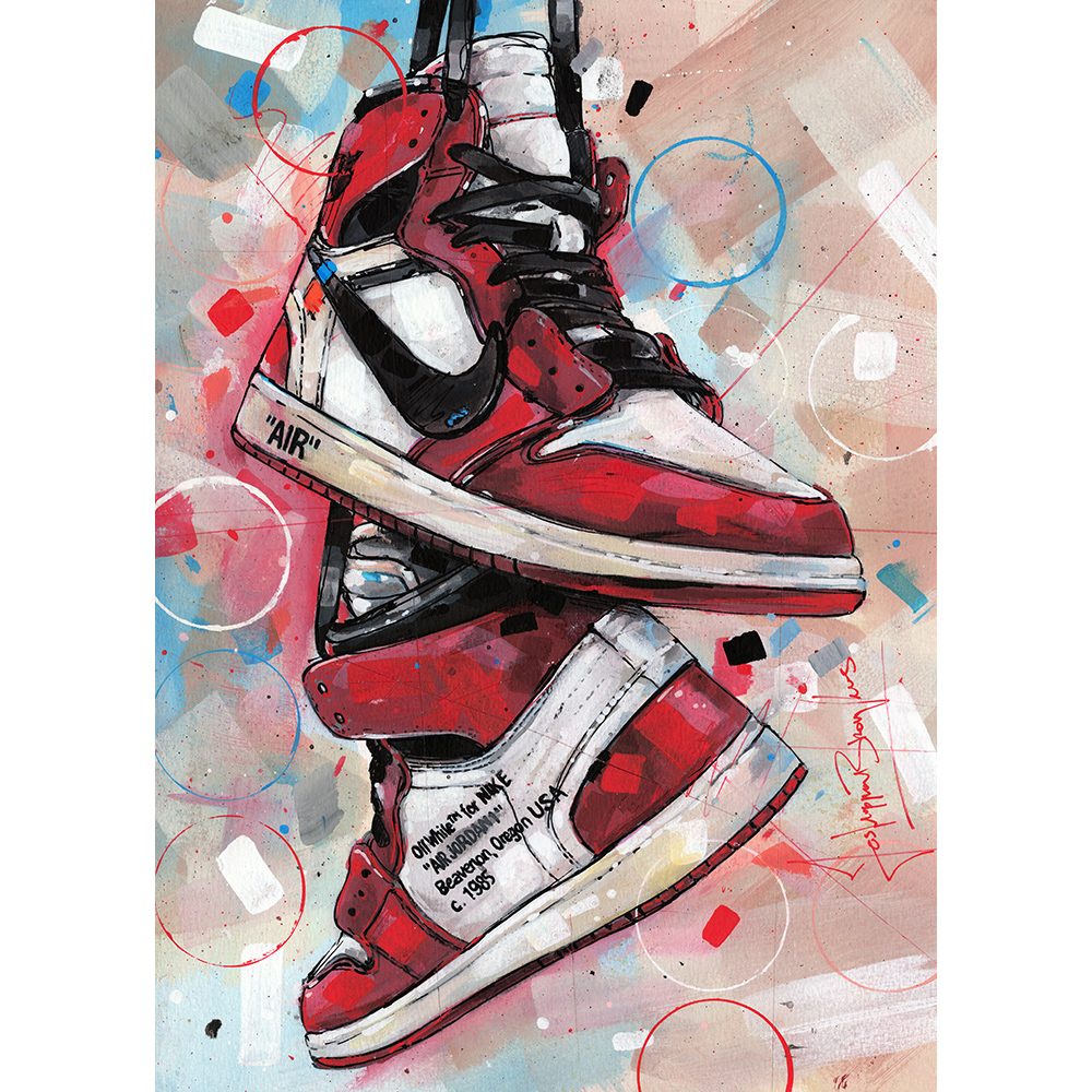 vena Claraboya Salón de clases  Nike air Jordan 1 retro high Off-White Chicago painting (297x420mm) - Jos  Hoppenbrouwers art