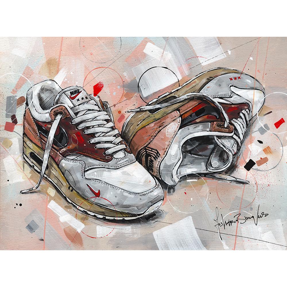 Nike air max 1 anniversary OG 'university red' painting